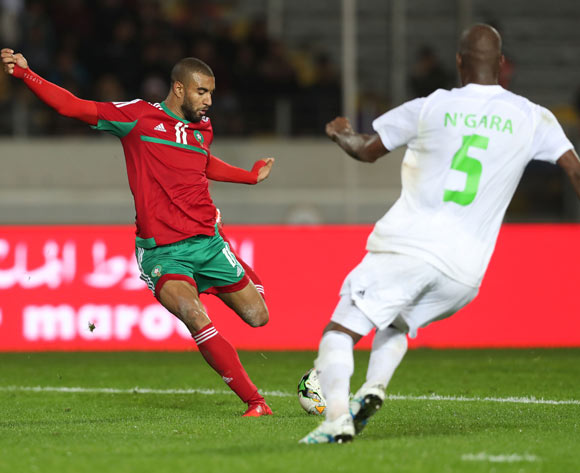 Ismail El Haddad of Morocco shoots and scores during the 2018 Chan football game between Morocco and Mauritania at Stade Mohammed V in Casablanca, Morocco on 13 January 2018 ©Gavin Barker/BackpagePix