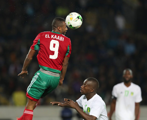 Ayoub El Kaabi of Morocco wins header against Sidi Mohamed Bilal Ngara of Mauritania during the 2018 Chan football game between Morocco and Mauritania at Stade Mohammed V in Casablanca, Morocco on 13 January 2018 ©Gavin Barker/BackpagePix
