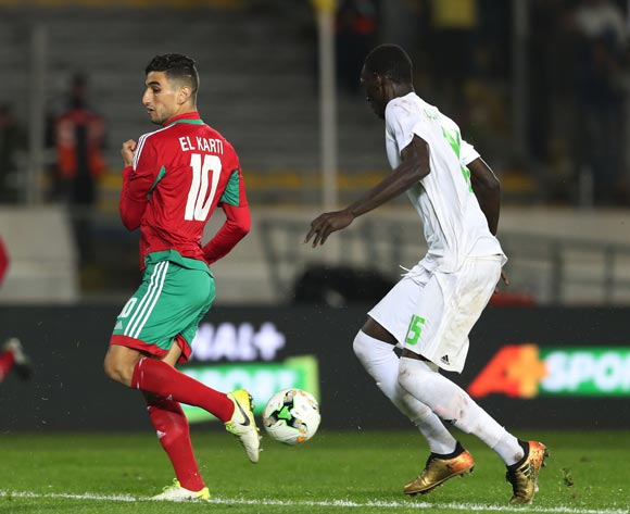 Walid El Karti of Morocco back heels ball from Oumar Mangane of Mauritania during the 2018 Chan football game between Morocco and Mauritania at Stade Mohammed V in Casablanca, Morocco on 13 January 2018 ©Gavin Barker/BackpagePix
