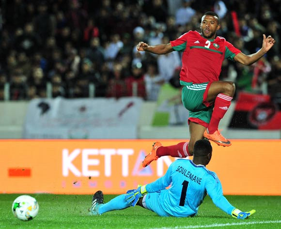 Ayoub El Kaabi of Morocco gets the ball past Souleimane Brahim of Mauritania during the 2018 Chan game between Morocco and Mauritania at Stade Mohammed V in Casablanca, Morocco on 13 January 2018 © Ryan Wilkisky/BackpagePix