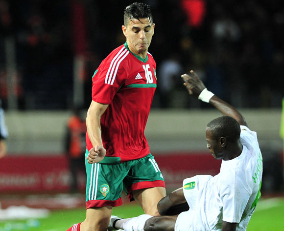 Mohammed Nahiri of Morocco is fouled by Mohamed Wade of Mauritania during the 2018 Chan game between Morocco and Mauritania at Stade Mohammed V in Casablanca, Morocco on 13 January 2018 © Ryan Wilkisky/BackpagePix