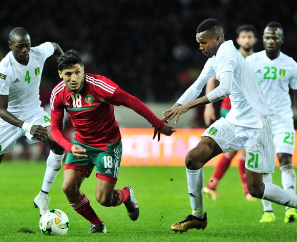 Abdelilah Hafidi of Morocco takes on Abdou M'bark El Id of Mauritania during the 2018 Chan game between Morocco and Mauritania at Stade Mohammed V in Casablanca, Morocco on 13 January 2018 © Ryan Wilkisky/BackpagePix