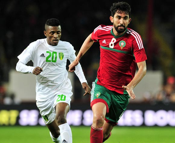 Salaheddine Saidi of Morocco is challenged by Samba Moussa of Mauritania during the 2018 Chan game between Morocco and Mauritania at Stade Mohammed V in Casablanca, Morocco on 13 January 2018 © Ryan Wilkisky/BackpagePix