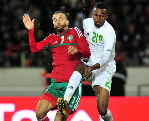 Zakaria Hadraf of Morocco is challenged by Mbark El Id Abdou of Mauritania during the 2018 Chan game between Morocco and Mauritania at Stade Mohammed V in Casablanca, Morocco on 13 January 2018 © Ryan Wilkisky/BackpagePix