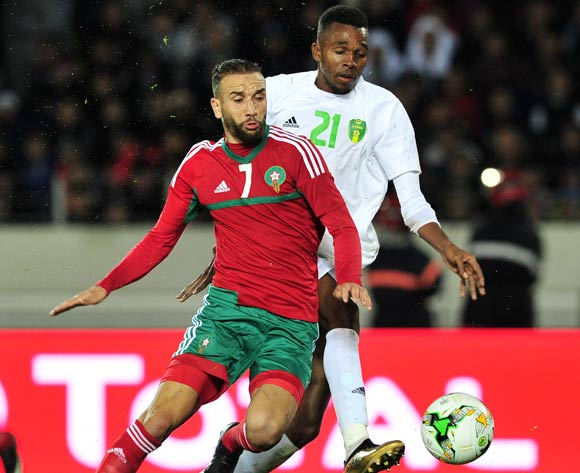 Zakaria Hadraf of Morocco is challenged by Abdou M'bark El Id of Mauritania during the 2018 Chan game between Morocco and Mauritania at Stade Mohammed V in Casablanca, Morocco on 13 January 2018 © Ryan Wilkisky/BackpagePix