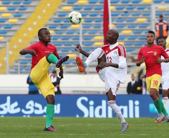 Saidouba Bissiri Camara of Guinea (l) challenged by El Taher Elhag Hassan of Sudan during the 2018 Chan football game between Guinea and Sudan at Stade Mohammed V in Casablanca, Morocco on 14 January 2018 ©Gavin Barker/BackpagePix