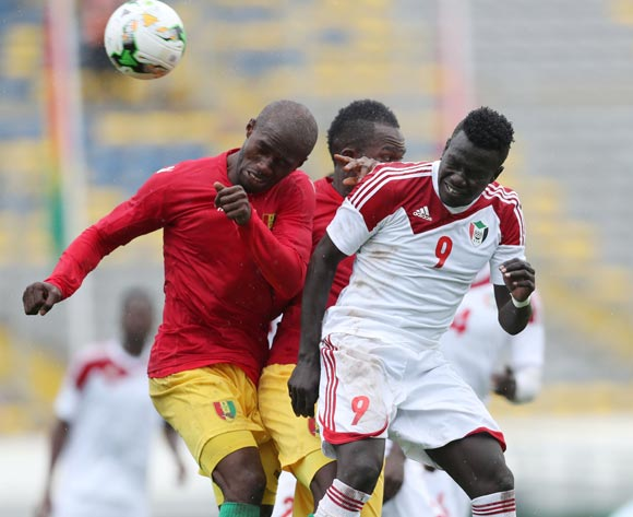 Saifeldin Malik Bakhit of Sudan wins header against Aboubacar Camara of Guinea  during the 2018 Chan football game between Guinea and Sudan at Stade Mohammed V in Casablanca, Morocco on 14 January 2018 ©Gavin Barker/BackpagePix