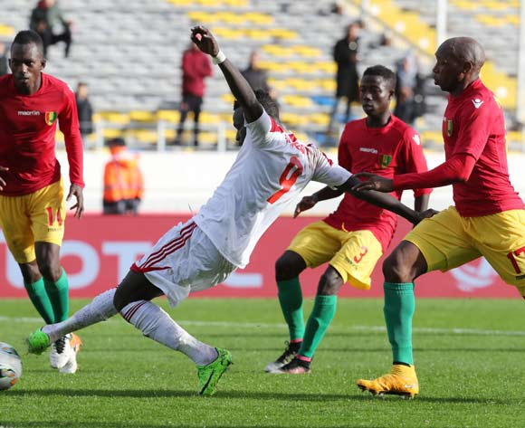 Mohamed Hashim Mohamed Idris of Sudan shoots and scores during the 2018 Chan football game between Guinea and Sudan at Stade Mohammed V in Casablanca, Morocco on 14 January 2018 ©Gavin Barker/BackpagePix