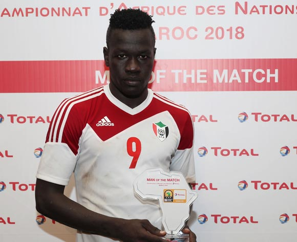 Saifeldin Malik Bakhit of Sudan wins the Total Man of the Match Award during the 2018 Chan football game between Guinea and Sudan at Stade Mohammed V in Casablanca, Morocco on 14 January 2018 ©Gavin Barker/BackpagePix