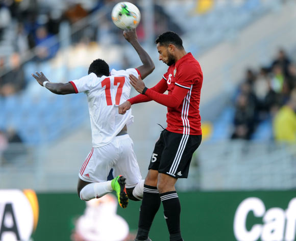Pedro Oba Mbengono Asu of Equatorial Guinea is challenged by Ahmed Eltrbi of Libya  during the CHAN Group C match between Libya and Equatorial Guinea on 15 January 2018 at Grand Stade de Tanger, Tanger Morocco Pic Sydney Mahlangu/BackpagePix