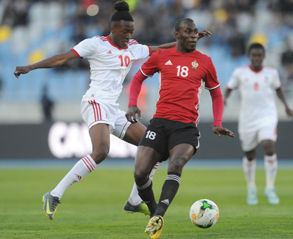 Ahmed Bader Hasan of Libya challenges Santiago Bocari Eneme of Equatorial Guinea during the CHAN Group C match between Libya and Equatorial Guinea on 15 January 2018 at Grand Stade de Tanger, Tanger Morocco Pic Sydney Mahlangu/BackpagePix