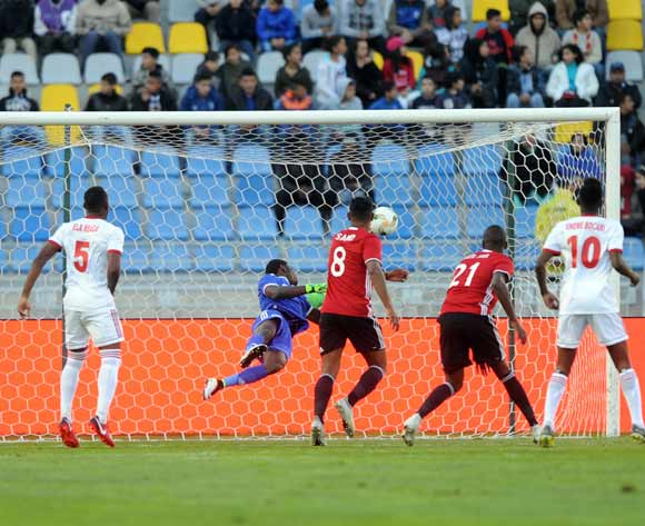 Saeid Saleh Taher of Libya scores a goal during the CHAN Group C match between Libya and Equatorial Guinea on 15 January 2018 at Grand Stade de Tanger, Tanger Morocco Pic Sydney Mahlangu/BackpagePix