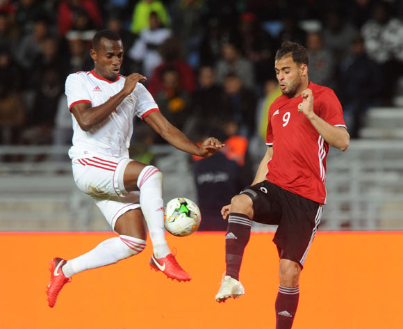 Abdelsalam Faraj Alaqoub of Libya is challenged by Santos Tomas Ela Abaga of Equatorial Guinea during the CHAN Group C match between Libya and Equatorial Guinea on 15 January 2018 at Grand Stade de Tanger, Tanger Morocco Pic Sydney Mahlangu/BackpagePix