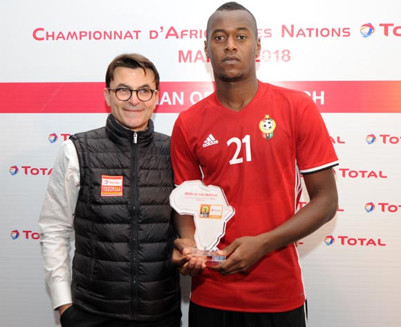 Saeid Saleh Taher of Libya awarded TOTAL man of the match  during the CHAN Group C match between Libya and Equatorial Guinea on 15 January 2018 at Grand Stade de Tanger, Tanger Morocco Pic Sydney Mahlangu/BackpagePix