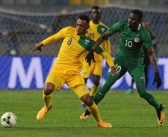 Rabiu Ali of Nigeria challenges Ally Niyonzima of Rwanda during the CHAN Group C match between Nigeria and Rwanda on 15 January 2018 at Grand Stade de Tanger, Tanger Morocco Pic Sydney Mahlangu/BackpagePix