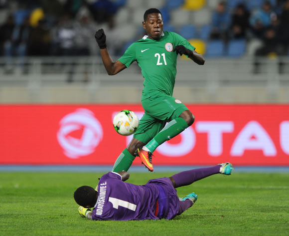 Sunday Adeyemi Faleye of Nigeria is challenged by Eric Ndayishimiye of Rwanda during the CHAN Group C match between Nigeria and Rwanda on 15 January 2018 at Grand Stade de Tanger, Tanger Morocco Pic Sydney Mahlangu/BackpagePix