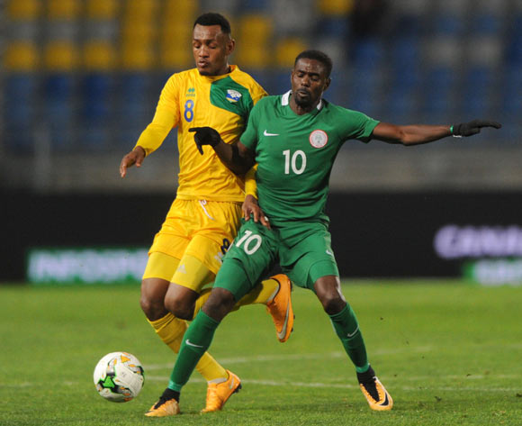 Ally Niyonzima of Rwanda is challenged by Rabiu Ali of Nigeria  during the CHAN Group C match between Nigeria and Rwanda on 15 January 2018 at Grand Stade de Tanger, Tanger Morocco Pic Sydney Mahlangu/BackpagePix