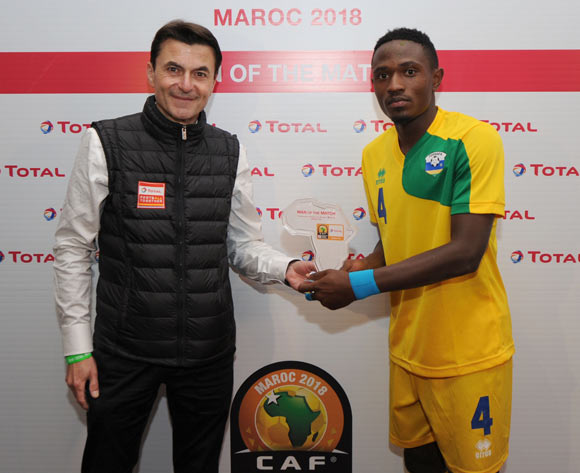 Djihad Bizimana of Rwanda awarded TOTAL man of the match    during the CHAN Group C match between Nigeria and Rwanda on 15 January 2018 at Grand Stade de Tanger, Tanger Morocco Pic Sydney Mahlangu/BackpagePix