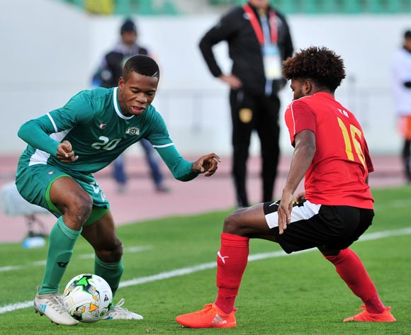 Nathanio Kompaore of Burkina Faso takes Augusto Carneiro To of Angola during the 2018 Chan game between Angola and Burkina Faso at Le Grand Stade Agadir in Agadir, Morocco on 16 January 2018 © Ryan Wilkisky/BackpagePix