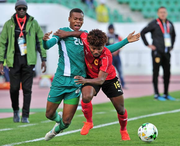 Nathanio Kompaore of Burkina Faso is fouled by Augusto Carneiro To of Angola during the 2018 Chan game between Angola and Burkina Faso at Le Grand Stade Agadir in Agadir, Morocco on 16 January 2018 © Ryan Wilkisky/BackpagePix
