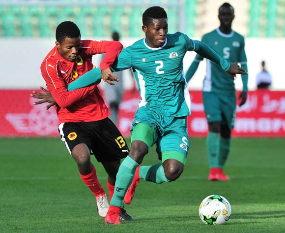 Elisee Sou of Burkina Faso is challenged by Vladimir Etson Va of Angola during the 2018 Chan game between Angola and Burkina Faso at Le Grand Stade Agadir in Agadir, Morocco on 16 January 2018 © Ryan Wilkisky/BackpagePix