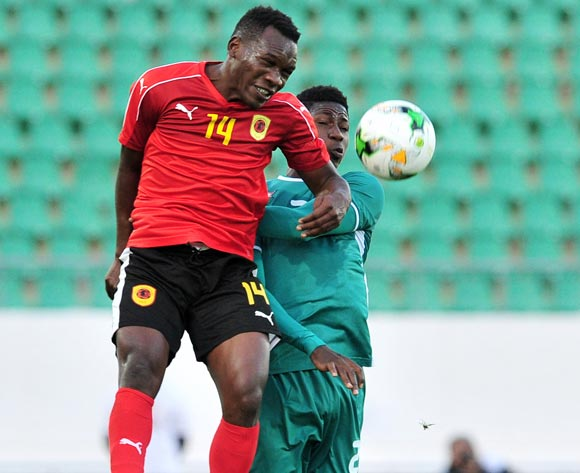 Antonio Sapalo Paty of Angola beats Elisee Sou of Burkina Faso in the air during the 2018 Chan game between Angola and Burkina Faso at Le Grand Stade Agadir in Agadir, Morocco on 16 January 2018 © Ryan Wilkisky/BackpagePix