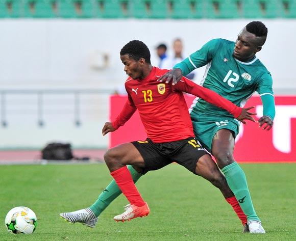 Vladimir Etson Va of Angola is challenged by Abdoul Abass Guiro of Burkina Faso during the 2018 Chan game between Angola and Burkina Faso at Le Grand Stade Agadir in Agadir, Morocco on 16 January 2018 © Ryan Wilkisky/BackpagePix