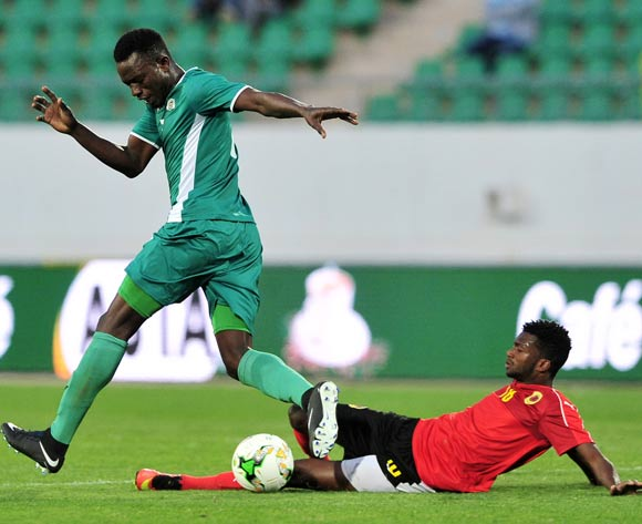 Moise Zongo of Burkina Faso is tackled by Herenilson Do Carmo of Angola during the 2018 Chan game between Angola and Burkina Faso at Le Grand Stade Agadir in Agadir, Morocco on 16 January 2018 © Ryan Wilkisky/BackpagePix