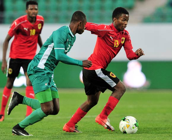 Vladimir Etson Va of Angola takes on Valentin Nouma of Burkina Faso during the 2018 Chan game between Angola and Burkina Faso at Le Grand Stade Agadir in Agadir, Morocco on 16 January 2018 © Ryan Wilkisky/BackpagePix