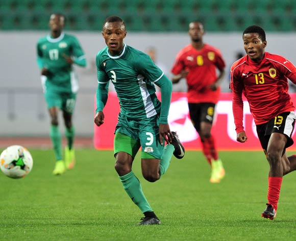 Valentin Nouma of Burkina Faso and Vladimir Etson Va of Angola give chase during the 2018 Chan game between Angola and Burkina Faso at Le Grand Stade Agadir in Agadir, Morocco on 16 January 2018 © Ryan Wilkisky/BackpagePix
