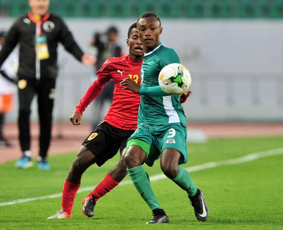Valentin Nouma of Burkina Faso gets to the ball ahead of Vladimir Etson Va of Angola during the 2018 Chan game between Angola and Burkina Faso at Le Grand Stade Agadir in Agadir, Morocco on 16 January 2018 © Ryan Wilkisky/BackpagePix
