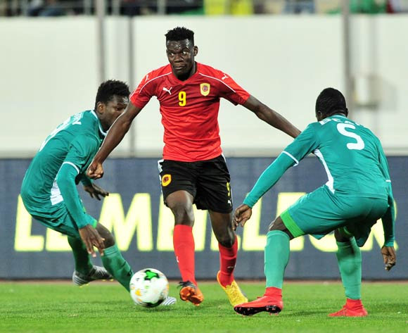 Afonso Sebastiao Cabungula Fofo of Angola runs at the Burkina Faso defence during the 2018 Chan game between Angola and Burkina Faso at Le Grand Stade Agadir in Agadir, Morocco on 16 January 2018 © Ryan Wilkisky/BackpagePix