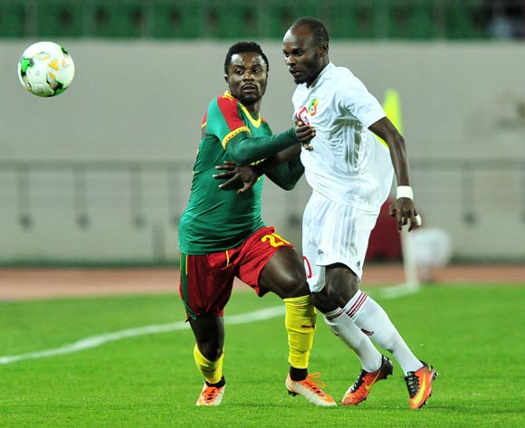 Justalain Moise Nkounkou of Congo and Frantz Pangop of Cameroon battle for possession during the 2018 Chan game between Cameroon and Congo at Le Grand Stade Agadir in Agadir, Morocco on 16 January 2018 © Ryan Wilkisky/BackpagePix