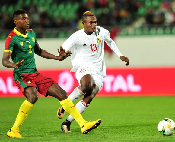 Jaures Maudsly Ngombe of Congo gives chase as Bertrand Owundi of Cameroon makes the challenge during the 2018 Chan game between Cameroon and Congo at Le Grand Stade Agadir in Agadir, Morocco on 16 January 2018 © Ryan Wilkisky/BackpagePix