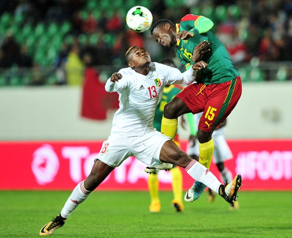 Paul Abouem Maya of Cameroon wins the header against Jaures Maudsly Ngombe of Congo during the 2018 Chan game between Cameroon and Congo at Le Grand Stade Agadir in Agadir, Morocco on 16 January 2018 © Ryan Wilkisky/BackpagePix