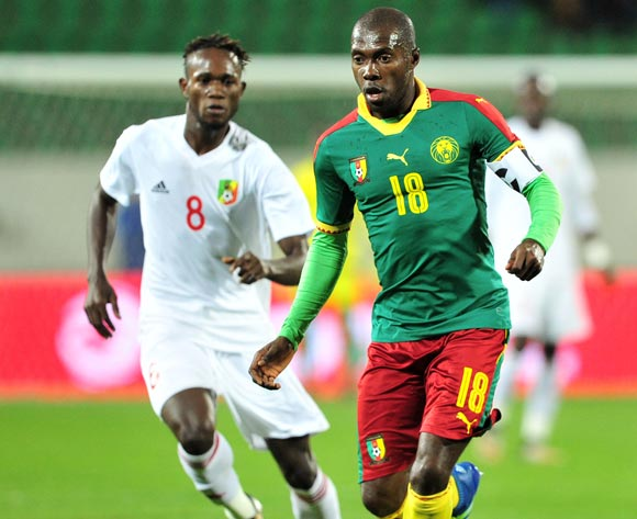 Junior Awono of Cameroon is challenged by Junior Amour Ngouala of Congo during the 2018 Chan game between Cameroon and Congo at Le Grand Stade Agadir in Agadir, Morocco on 16 January 2018 © Ryan Wilkisky/BackpagePix