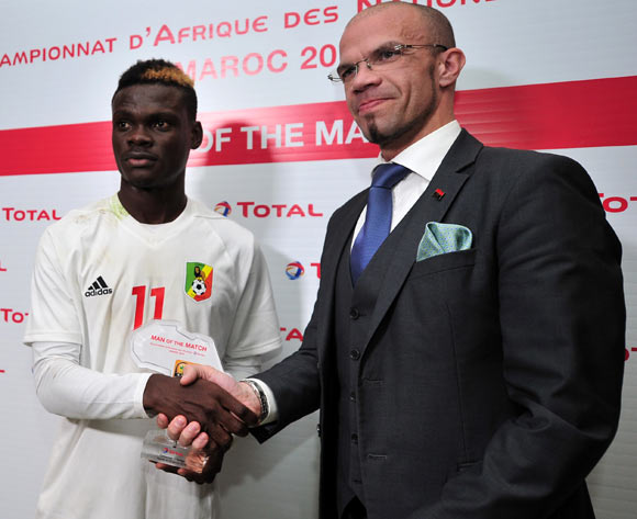 Vieljeux Prestige Mboungou of Congo receives his Man of the Match award after the 2018 Chan game between Cameroon and Congo at Le Grand Stade Agadir in Agadir, Morocco on 16 January 2018 © Ryan Wilkisky/BackpagePix