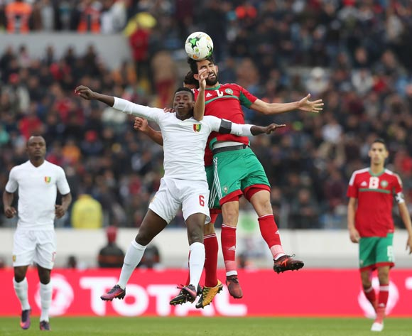 Salaheddine Saidi of Morocco wins header against Ibrahim Sory Sankhon of Guinea during the 2018 Chan football game between Morocco and Guinea at Stade Mohammed V in Casablanca, Morocco on 17 January 2018 ©Gavin Barker/BackpagePix