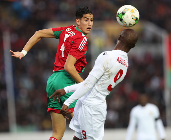 Nayef Aguerd of Morocco wins header against Aboubacar Camara of Guinea  during the 2018 Chan football game between Morocco and Guinea at Stade Mohammed V in Casablanca, Morocco on 17 January 2018 ©Gavin Barker/BackpagePix