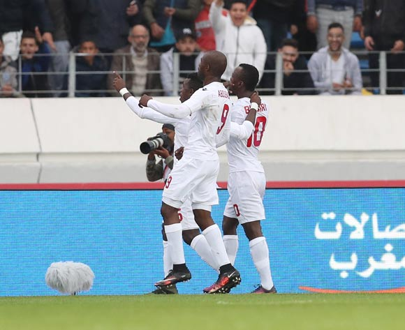Saidouba Bissiri Camara of Guinea (r) celebrates goal during the 2018 Chan football game between Morocco and Guinea at Stade Mohammed V in Casablanca, Morocco on 17 January 2018 ©Gavin Barker/BackpagePix