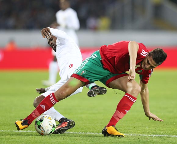 Mohammed Nahiri of Morocco tackled by Aboubacar Camara of Guinea during the 2018 Chan football game between Morocco and Guinea at Stade Mohammed V in Casablanca, Morocco on 17 January 2018 ©Gavin Barker/BackpagePix