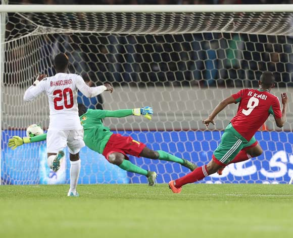 Ayoub El Kaabi of Morocco scores past Abdoulaye Kante of Guinea  during the 2018 Chan football game between Morocco and Guinea at Stade Mohammed V in Casablanca, Morocco on 17 January 2018 ©Gavin Barker/BackpagePix