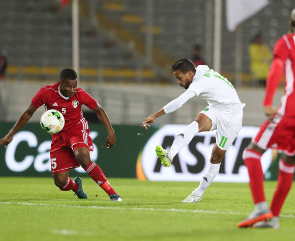 Moulaye Ahmed Khalil Bessam of Mauritania shoots challenged by Bakri Bachir Bakri Makki of Sudan  during the 2018 Chan football game between Sudan and Mauritania at Stade Mohammed V in Casablanca, Morocco on 17 January 2018 ©Gavin Barker/BackpagePix