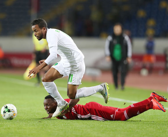 Moulaye Ahmed Khalil Bessam of Mauritania evades tackle from Samawal Merghani Nour of Sudan  during the 2018 Chan football game between Sudan and Mauritania at Stade Mohammed V in Casablanca, Morocco on 17 January 2018 ©Gavin Barker/BackpagePix