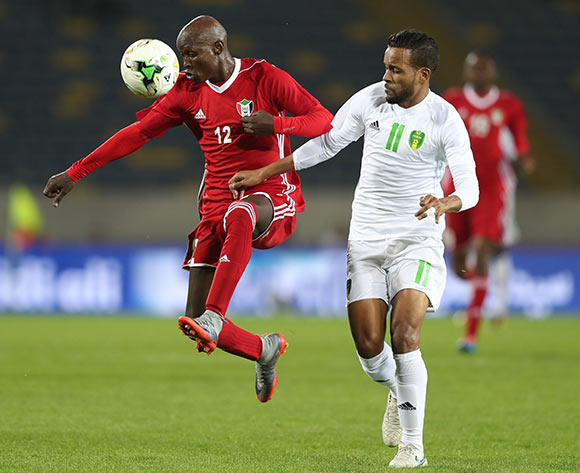 El Taher Elhag Hassan of Sudan shields ball from Moulaye Ahmed Khalil Bessam of Mauritania  during the 2018 Chan football game between Sudan and Mauritania at Stade Mohammed V in Casablanca, Morocco on 17 January 2018 ©Gavin Barker/BackpagePix