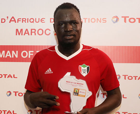 Saifeldin Malik Bakhit of Sudan wins the Total Man of the Match Award during the 2018 Chan football game between Sudan and Mauritania at Stade Mohammed V in Casablanca, Morocco on 17 January 2018 ©Gavin Barker/BackpagePix
