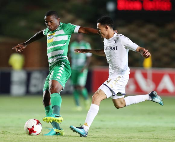 Lantshene Phalane of Bloemfontein Celtic challenged by Daylon Claasen of Bidvest Wits during the Absa Premiership 2017/18 match between Bidvest Wits and Bloemfontein Celtic at Bidvest Stadium, Johannesburg South Africa on 19 January 2018 ©Muzi Ntombela/BackpagePix