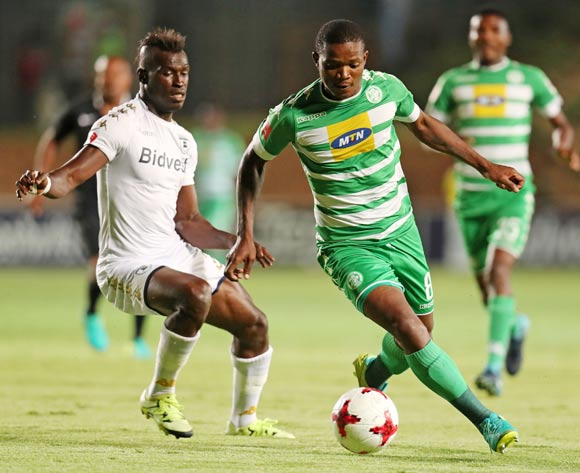 Lantshene Phalane of Bloemfontein Celtic challenged by Edwin Gymah of Bidvest Wits during the Absa Premiership 2017/18 match between Bidvest Wits and Bloemfontein Celtic at Bidvest Stadium, Johannesburg South Africa on 19 January 2018 ©Muzi Ntombela/BackpagePix