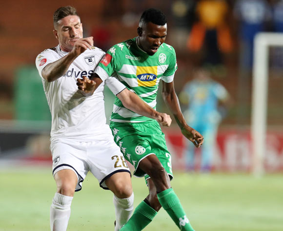 Lucky Baloyi of Bloemfontein Celtic challenged by James Keene of Bidvest Wits during the Absa Premiership 2017/18 match between Bidvest Wits and Bloemfontein Celtic at Bidvest Stadium, Johannesburg South Africa on 19 January 2018 ©Muzi Ntombela/BackpagePix