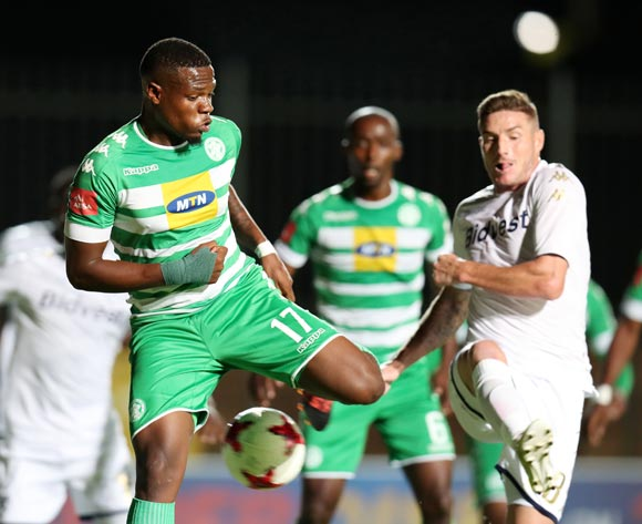 Tshegofatso Mabaso of Bloemfontein Celtic challenged by James Keene of Bidvest Wits during the Absa Premiership 2017/18 match between Bidvest Wits and Bloemfontein Celtic at Bidvest Stadium, Johannesburg South Africa on 19 January 2018 ©Muzi Ntombela/BackpagePix